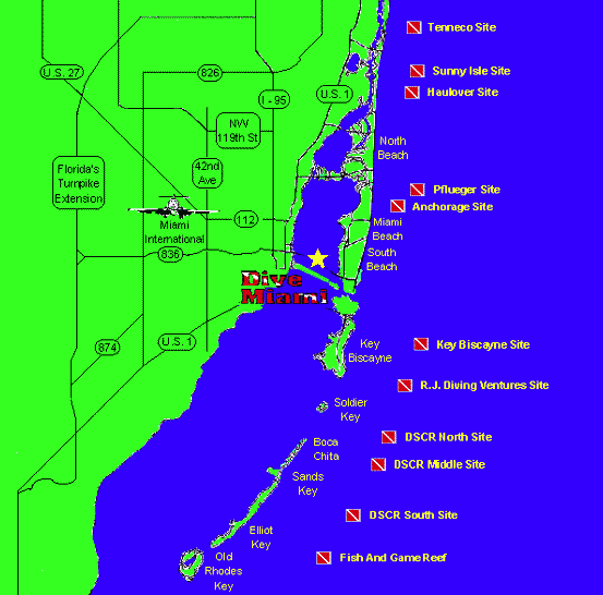 miami dive map